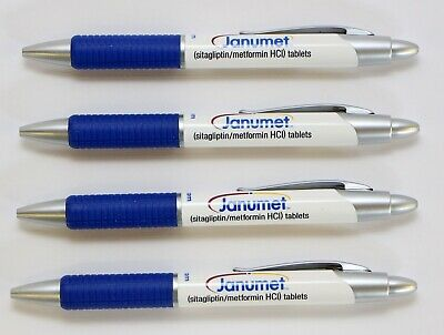 Pharmaceutical  Drug Rep Collectible Pens 4 Plastic Janumet Blue on White NEW