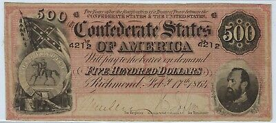 T-64 PF-1 $500 1864 Confederate Paper Money - Lighter RED variety