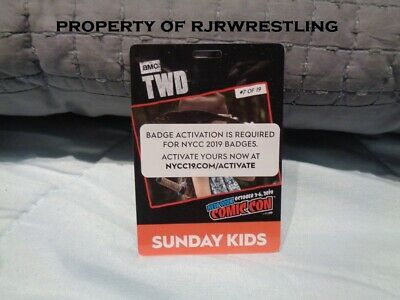 2019 Nycc New York Comic Con Sunday 10/6 Kid's Badge Ticket On Hand & Activated