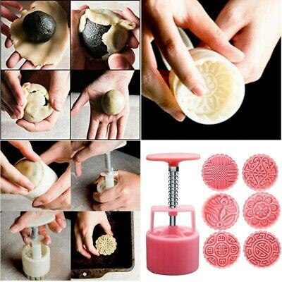6 Rose Flower Stamps Moon Cake Decor Mould Round Mooncake Mold DIY Tool 100g US