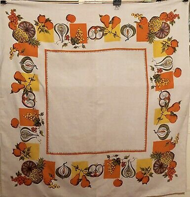 Vintage Mid-Century Autumn Fall Colors Orange Yellow Brown Tablecloth 50 x 52