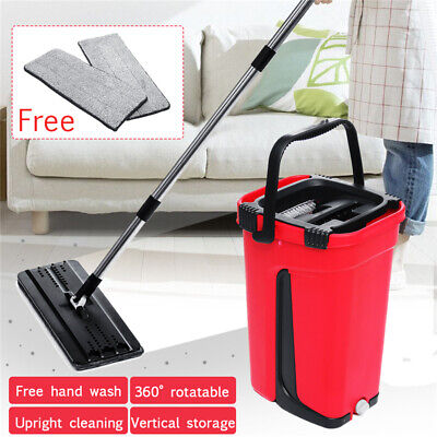 Flat Squeeze  And Bucket Hand Free Wringing Floor Cleaning Microfiber