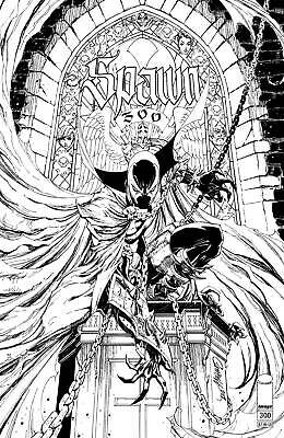 Spawn #300 Cover N J Scott Campbell B&W Sketch Variant   090419