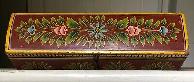 Large Antique / Vintage Hand Painted Wooden Pencil Box Treen
