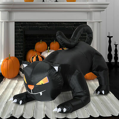 HOMCOM Halloween Decoration Inflatable Black Cat LED Indoor Outdoor Use