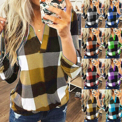 Womens Long Sleeve Blouse Shirt Ladies Casual Plaid V Neck Top TShirt Oversized