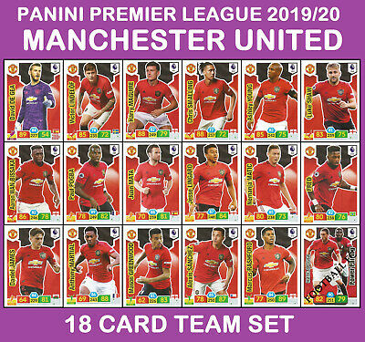 PANINI ADRENALYN Premier League 2019/20 MANCHESTER UNITED 18 Card Full Team Set