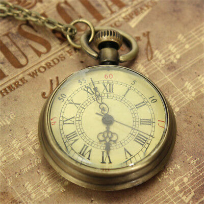 1* Retro Vintage Bronze Glass Steampunk Pocket Watch Chain Necklace Pendant Gift