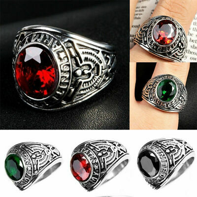 """Details about  /Lucia`  /""""US Veteran Military/"""" Men/'s Stainless Steel Ring 14 kt IP sizes 8-14"""