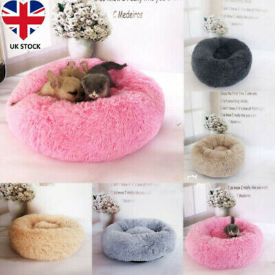 Pet Dog Cat Cute Calming Bed Warm Soft Plush Round Nest Comfortable Sleeping UK