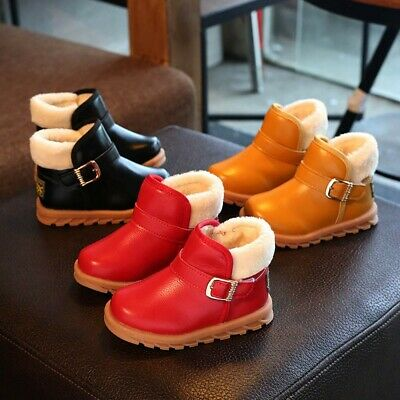 Children Kid Baby Girls Solid Leather Warm Martin Boots Princess Winter Shoes