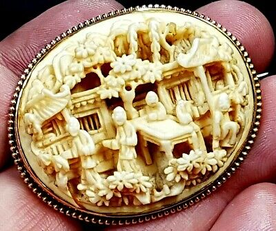 Antique Chinese Carved Bone Yellow Metal Mounted Brooch Emporor's Court c 1890
