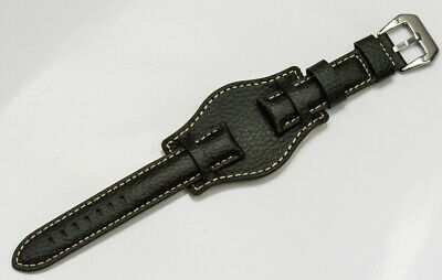 Dark brown genuine mens Leather Military Cuff Watch Strap band 20mm CLEARANCE