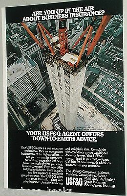 1972 USF&G advertisement, sky-scraper under construction Baltimore, cranes