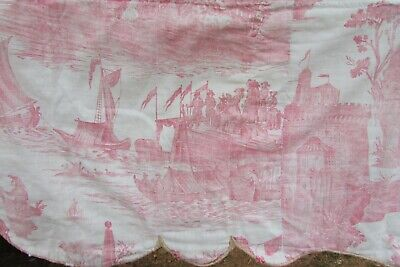RARE Antique French Linen Block Printed Toile de Jouy Bed Canopy Castle c1780s