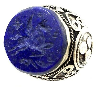 afghanistan ring antique style stone intaglio ancient roman pegasus seal no r9