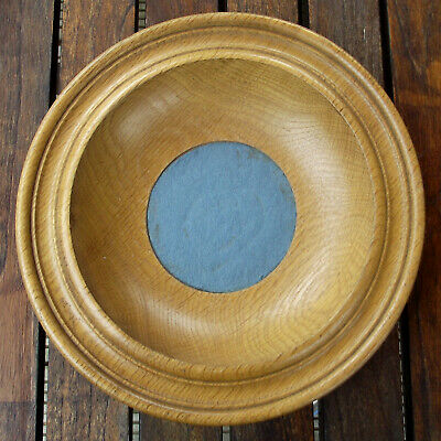 Vintage Antique Turned Oak Offertory Bowl Church Collection Plate Dish #2