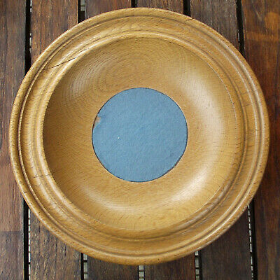 Vintage Antique Turned Oak Offertory Bowl Church Collection Plate Dish #4