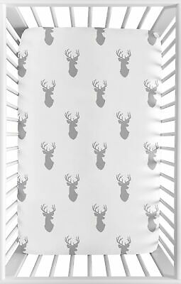 Grey Gray Stag Baby Fitted Mini Portable Crib Sheet for Woodland Deer Bedding