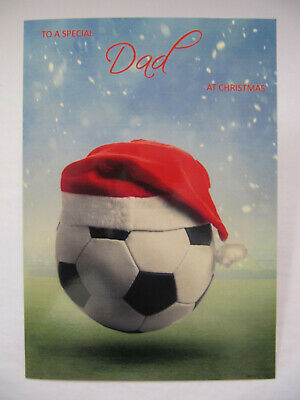 Dad Christmas Card Football with Santa Hat