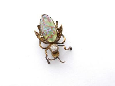 Vintage Art Deco 1920'S Czech Or Venetian Glass Crystal Fly Insect Bug Brooch