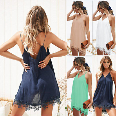 Sexy Womens V Neck Backless Strappy Chiffon Mini Dress Cover Dresses Summer Hot