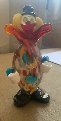 Vintage Clown Figurine Murano Glass Italy Style 7 in Bozo Rainbow Colors Circus
