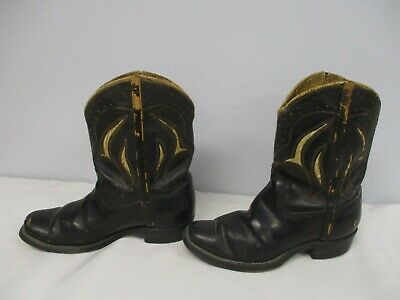 VINTAGE 1950s CHILDS BLACK LEATHER COWBOY BOOTS CEMENT FILLED BOOKENDS DOORSTOP