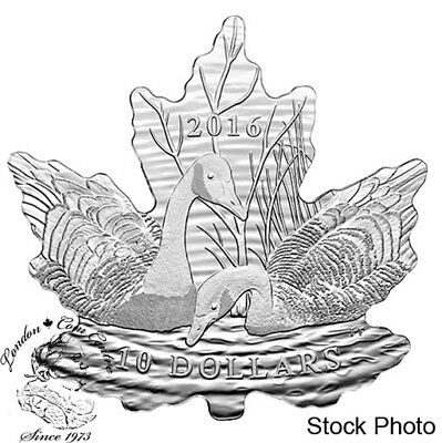 Canada 2016 $10 Maple Leaf Silhouette Canadian Geese Silver Coin
