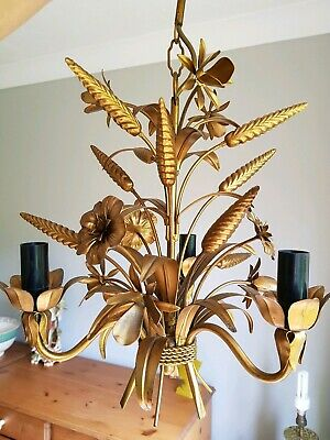 Gilt Metal Italian Wheatsheaf & Flowers 3 Arm Chandelier Ceiling Light Tole