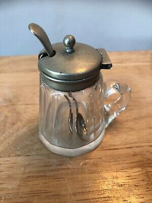 Vintage Mustard Pot with EPNS Lid and Silver Plated Spoon Glass Handled Pot