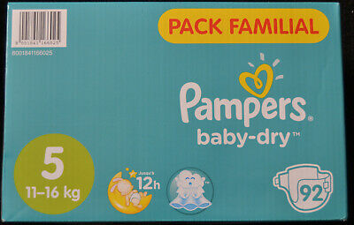 LOT DE 184 COUCHES PAMPERS BABY DRY Taille 5 (11 - 16 kg)  NEUF