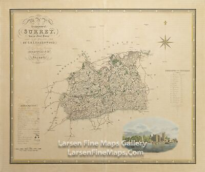 1829 Rare Map, Map of the County of Surrey