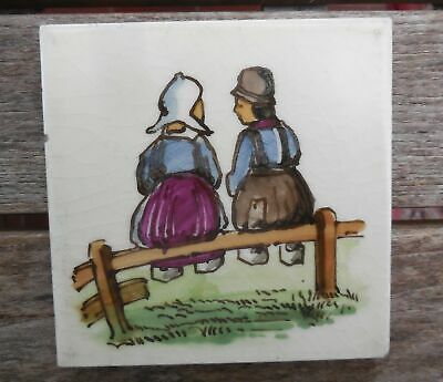 "Vintage Maw & Co Dutch Couple Sitting On a Fence 4"" x 4"" Tile"