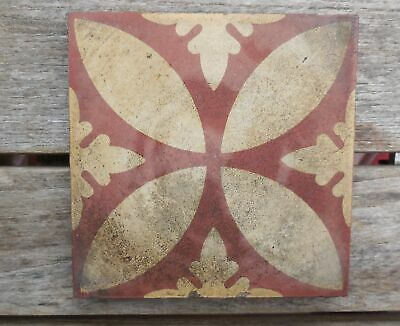"Antique W Godwin Lugwardine Hereford Encaustic Tile 4 5/8"" x 4 5/8"" Tile (1)"