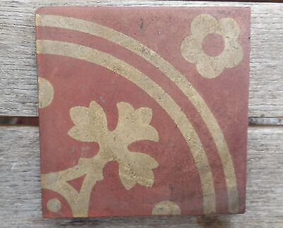 "Antique W Godwin Lugwardine Hereford Encaustic Tile 4 5/8"" x 4 5/8"" Tile (3)"