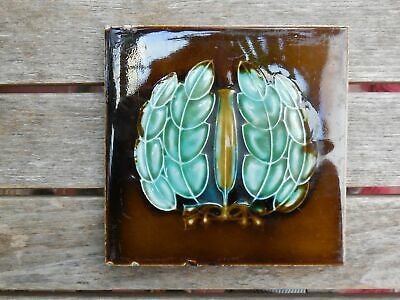 "Art Nouveau Majolica Brown & Green Leaf Relief 6"" x 6"" Tile c1906"