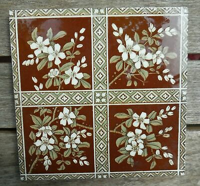 "Antique Minton Brown Floral Quartered 6"" x 6"" Tile"