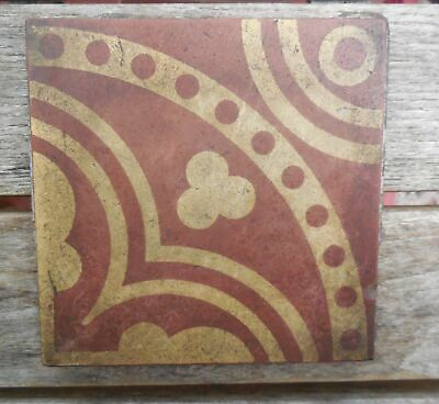 "Antique W Godwin Lugwardine Hereford Encaustic Tile 4 5/8"" x 4 5/8"" Tile (2)"