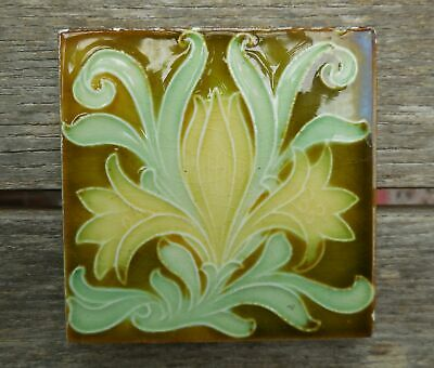 "Antique Art Nouveau Plikington Tulip Majolica 3"" X 3"" Small Tile c1905"