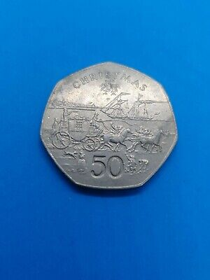 1980 Isle of Man Christmas 50p Fifty Pence Coin Mona's Isle Steam Boat AA Die