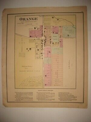 Antique 1874 Orange Ashland County Ohio Handcolored Map Detailed Fine Rare Nr