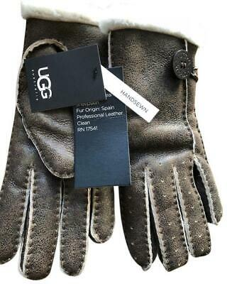 UGG Gloves Bailey Button Chocolate Bomber Shearling NEW