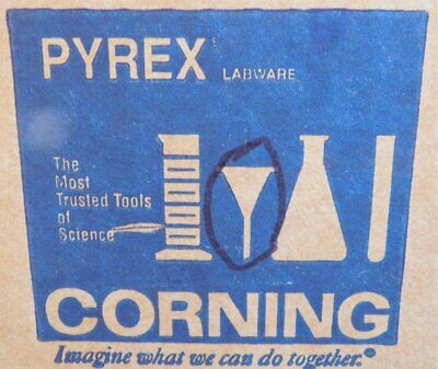 Case of 12 PYREX CORNING 6180-50 GLASS LAB FUNNELS Unused