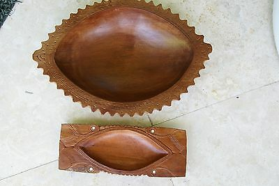 2 Melanesia Oceanic South Pacific Art Hand Carved Unique Artist Wood Bowls 2A20