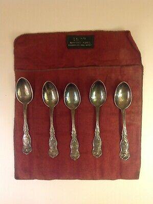 Lot of 5 WM Rogers & Son Silverplate Souvenir Spoons 1915 US State Eagle Series