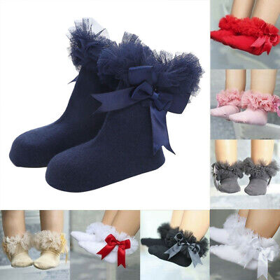 Sock Lace Socks Infant Ankle Girls Bowknot Princess Kids Frilly Ruffle Baby Trim