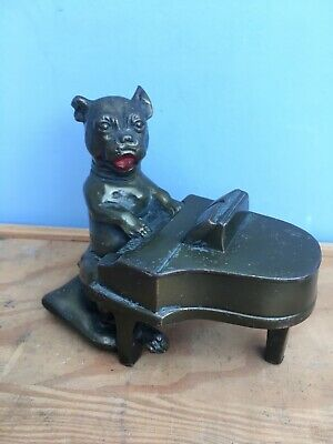 antique K&O French Bulldog piano Playing bronze Brass bookend Terrier Dog Vtg
