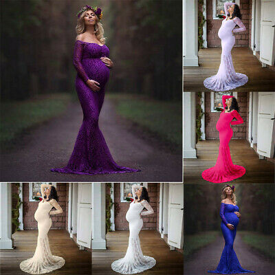 Sexy Women's Pregnants Photography Props Off Shoulders Lace Nursing Long Dress