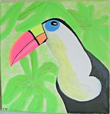 Original Hand Painted Toucan Acrylic Painting on Canvas  L4